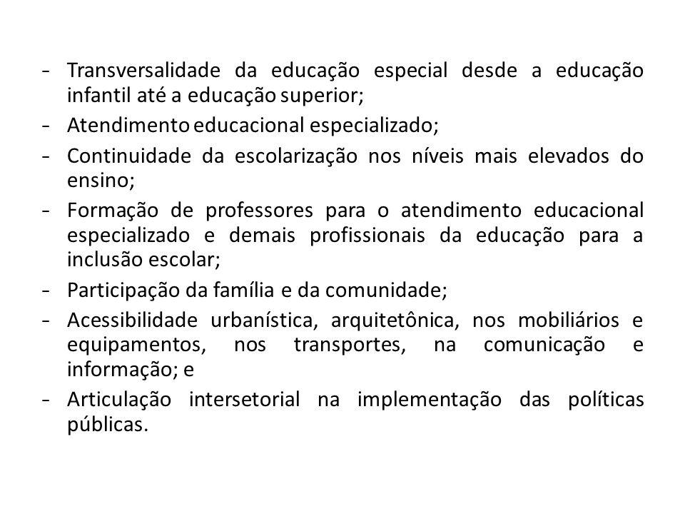 - Transversalidade da educação especial desde a educação infantil até a educação superior;