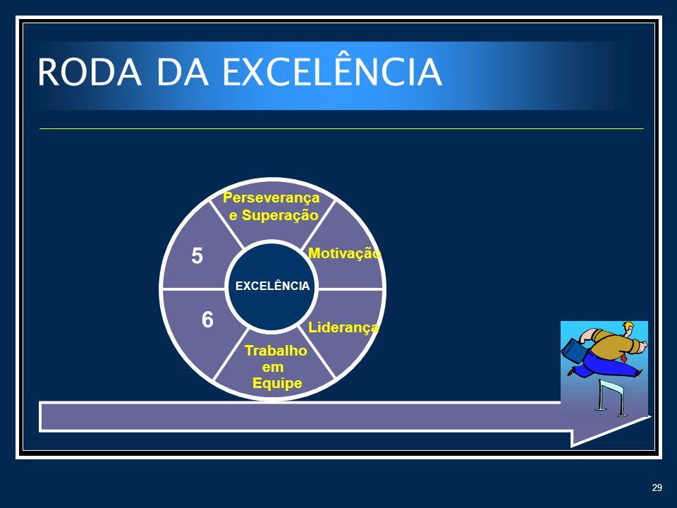 RODA DA EXCELÊNCIA 5 6 Perseverança e Superação Motivação Liderança