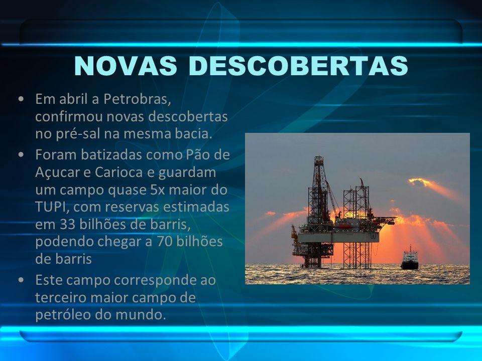 NOVAS DESCOBERTAS Em abril a Petrobras, confirmou novas descobertas no pré-sal na mesma bacia.