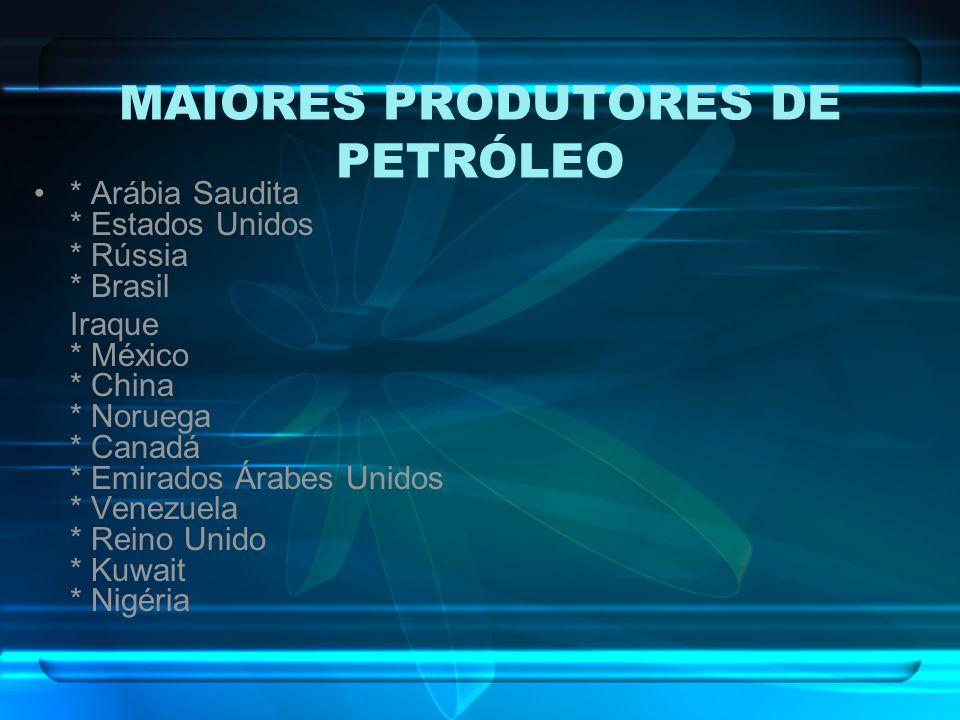 MAIORES PRODUTORES DE PETRÓLEO