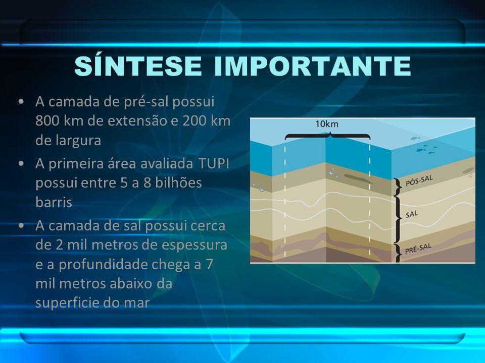 SÍNTESE IMPORTANTE A camada de pré-sal possui 800 km de extensão e 200 km de largura.