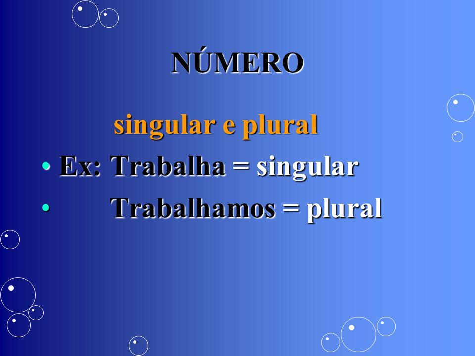 NÚMERO singular e plural Ex: Trabalha = singular Trabalhamos = plural