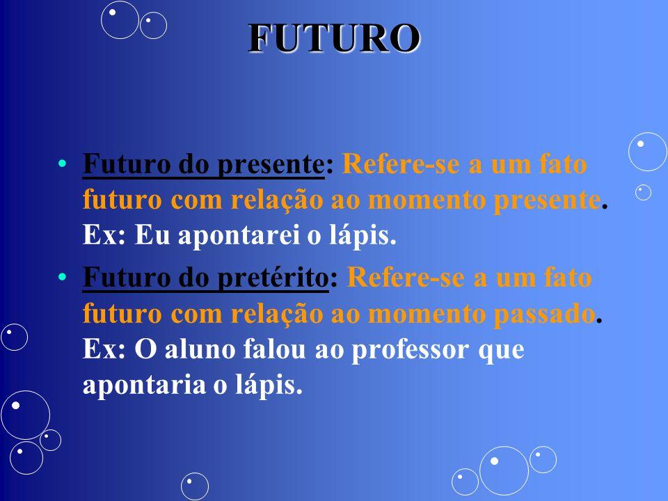 FUTURO Futuro do presente: Refere-se a um fato futuro com relação ao momento presente. Ex: Eu apontarei o lápis.