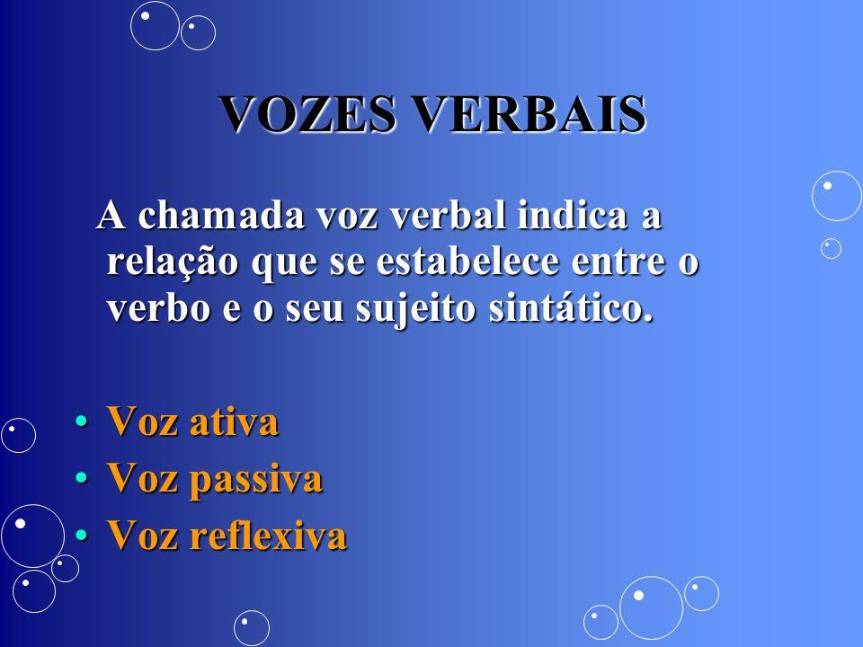 VOZES VERBAIS A chamada voz verbal indica a relação que se estabelece entre o verbo e o seu sujeito sintático.