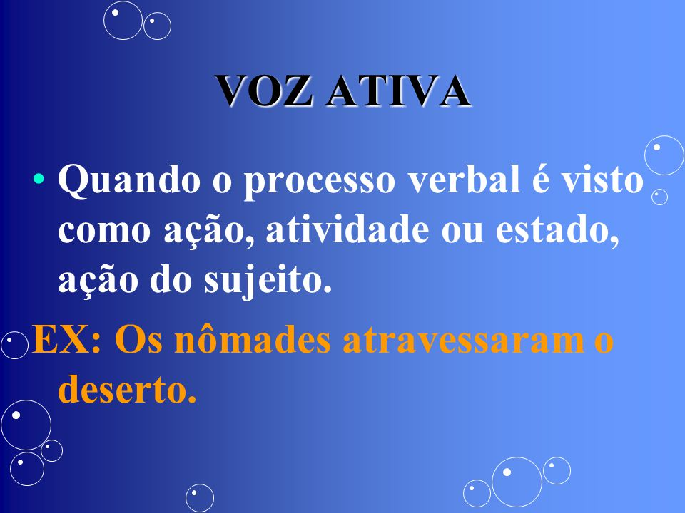 VOZ ATIVA Quando o processo verbal é visto como ação, atividade ou estado, ação do sujeito.