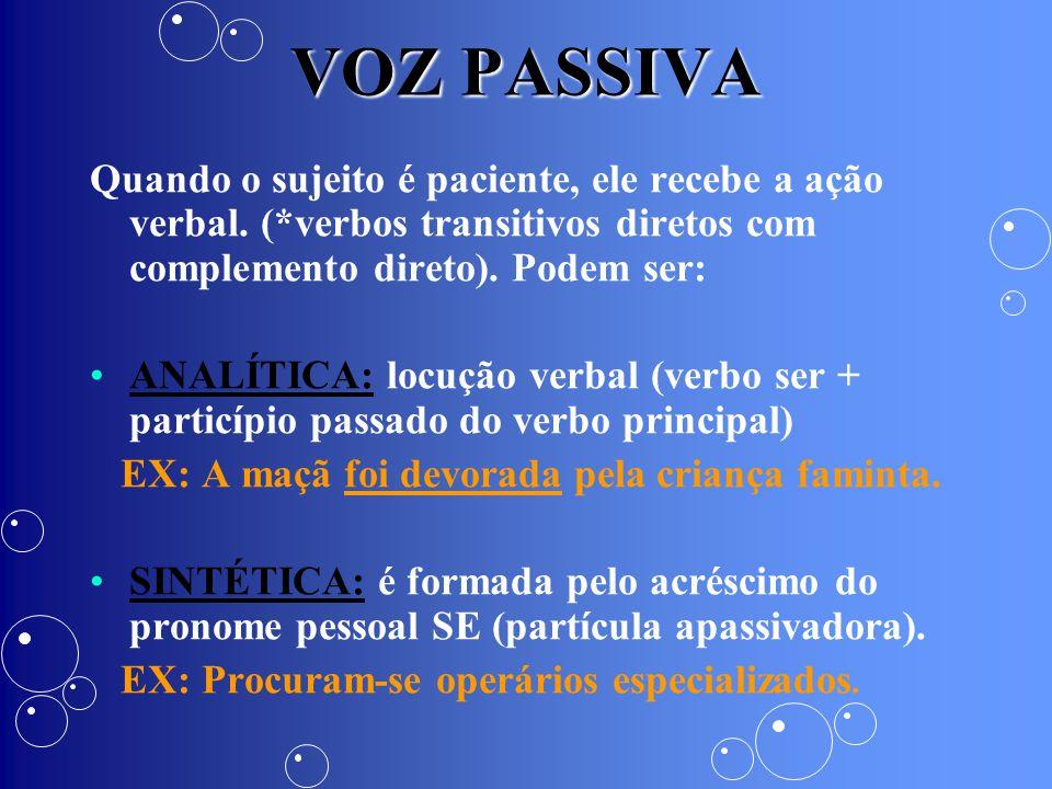 VOZ PASSIVA Quando o sujeito é paciente, ele recebe a ação verbal. (*verbos transitivos diretos com complemento direto). Podem ser: