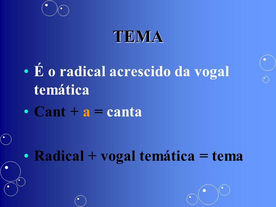 TEMA É o radical acrescido da vogal temática Cant + a = canta