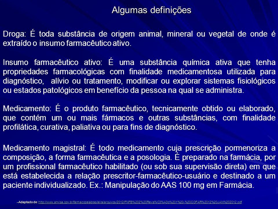 Algumas definições Droga: É toda substância de origem animal, mineral ou vegetal de onde é extraído o insumo farmacêutico ativo.