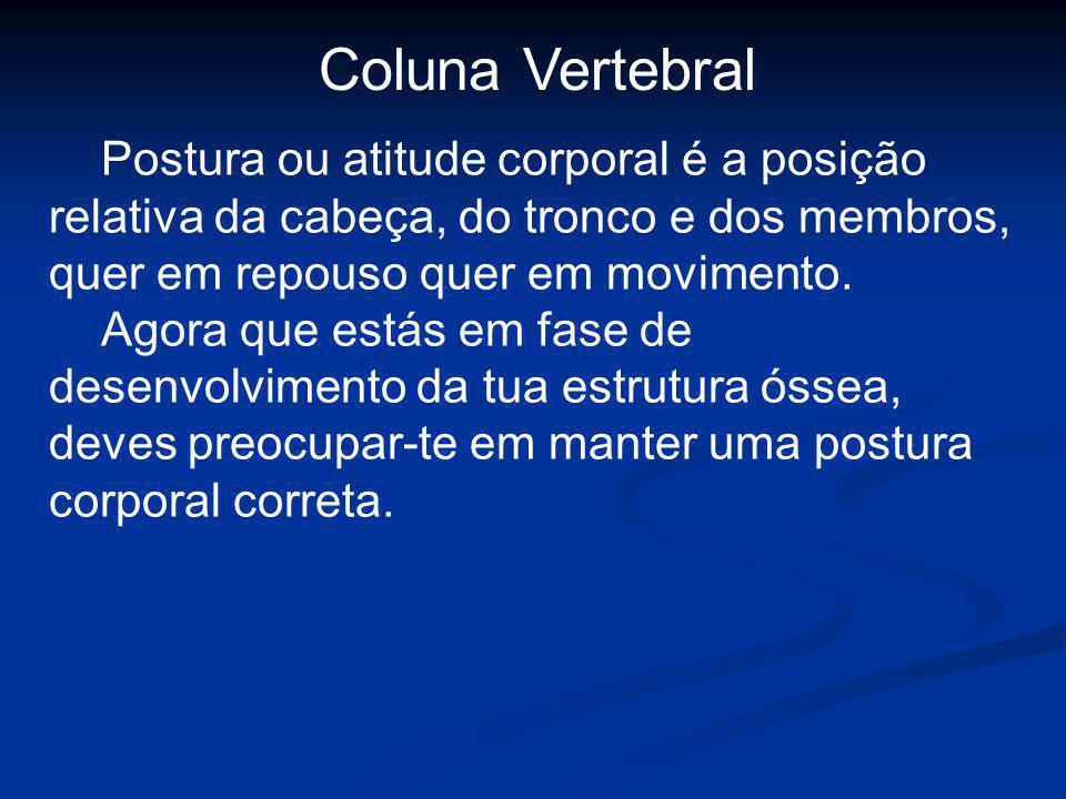 Coluna Vertebral Postura ou atitude corporal é a posição relativa da cabeça, do tronco e dos membros, quer em repouso quer em movimento.
