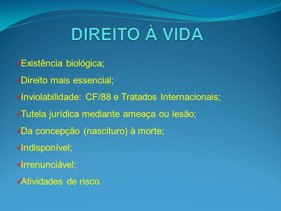 DIREITO À VIDA Existência biológica; Direito mais essencial;