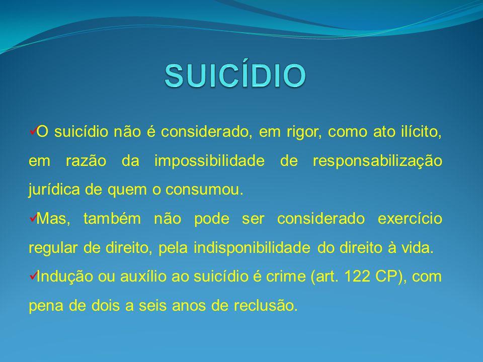 SUICÍDIO O suicídio não é considerado, em rigor, como ato ilícito, em razão da impossibilidade de responsabilização jurídica de quem o consumou.
