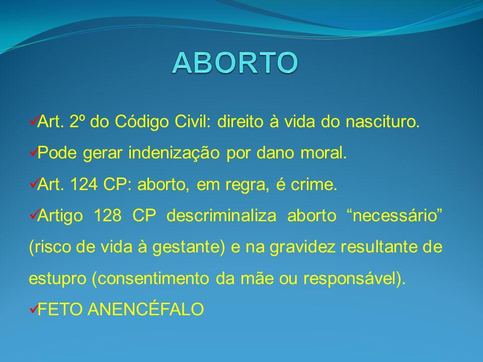 ABORTO Art. 2º do Código Civil: direito à vida do nascituro.