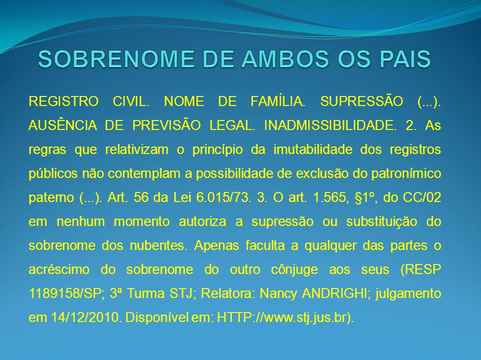 SOBRENOME DE AMBOS OS PAIS