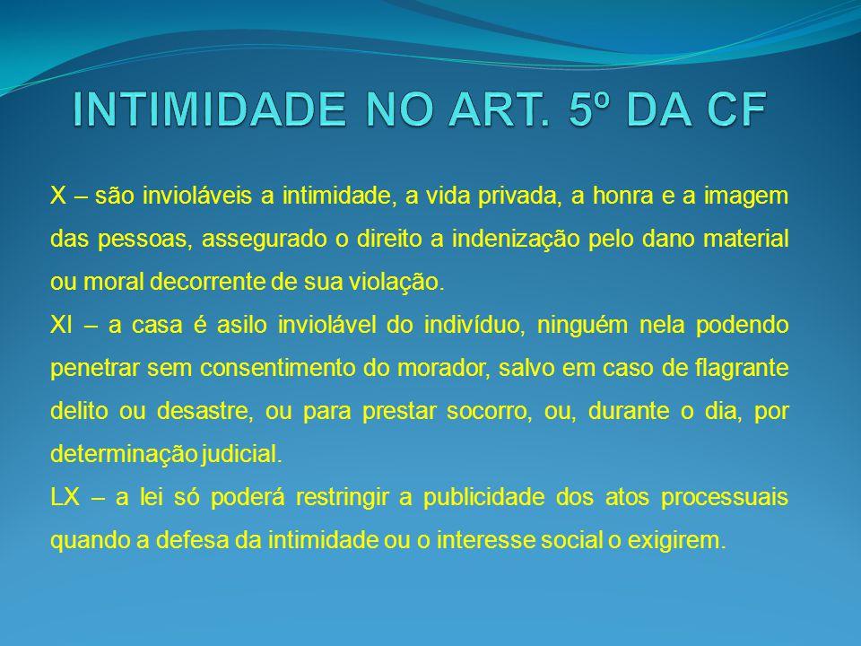 INTIMIDADE NO ART. 5º DA CF