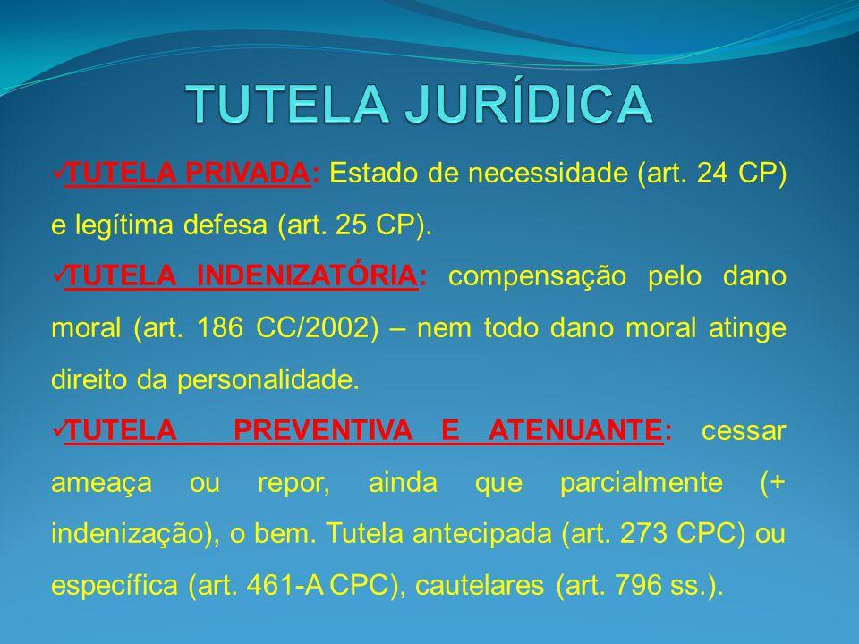 TUTELA JURÍDICA TUTELA PRIVADA: Estado de necessidade (art. 24 CP) e legítima defesa (art. 25 CP).