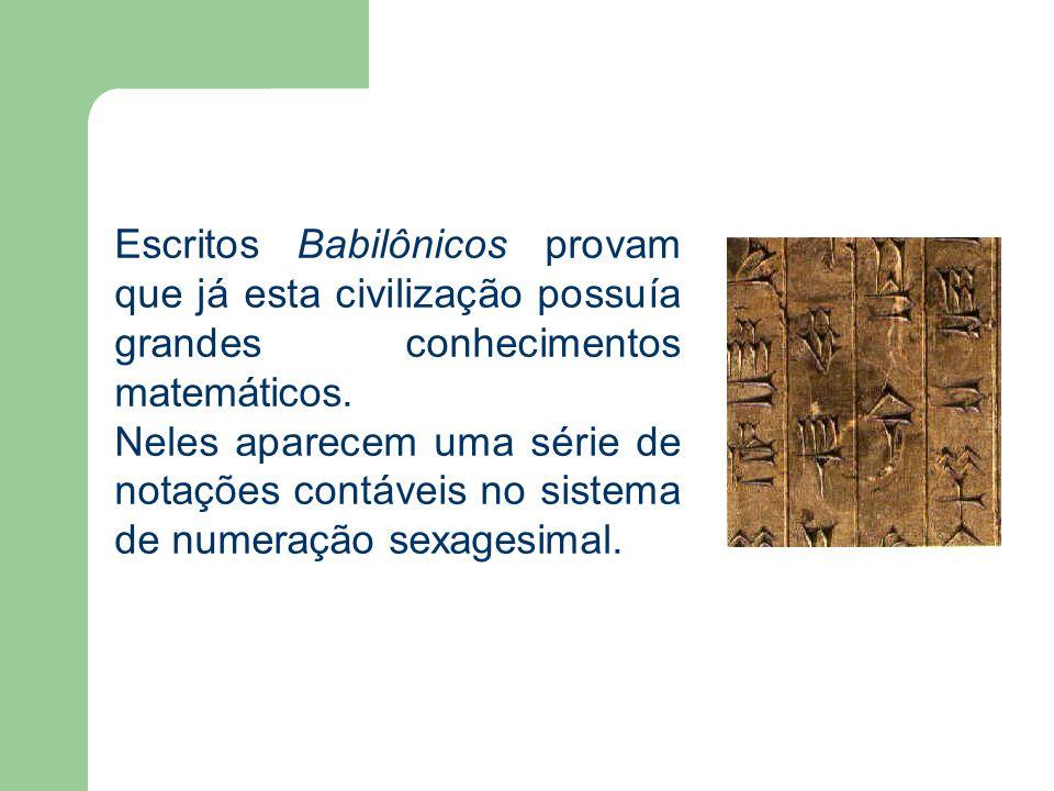 Escritos Babilônicos provam que já esta civilização possuía grandes conhecimentos matemáticos.