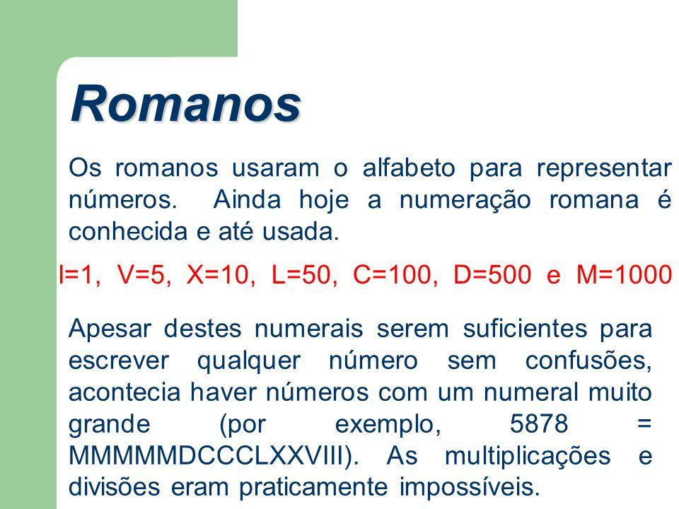 Romanos Os romanos usaram o alfabeto para representar números. Ainda hoje a numeração romana é conhecida e até usada.