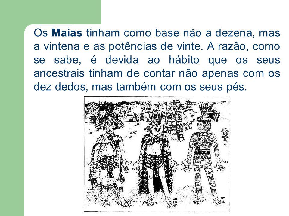 Os Maias tinham como base não a dezena, mas a vintena e as potências de vinte.