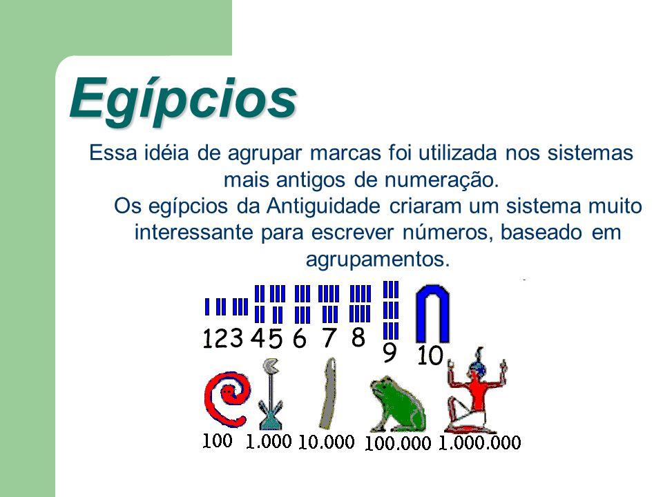 Egípcios Essa idéia de agrupar marcas foi utilizada nos sistemas mais antigos de numeração.