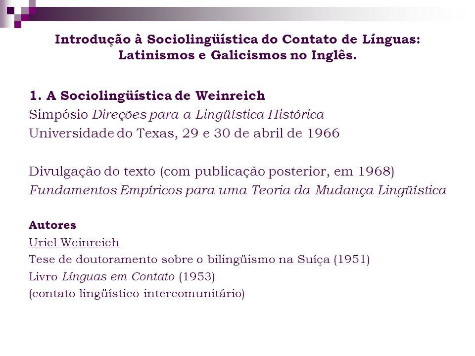 1. A Sociolingüística de Weinreich