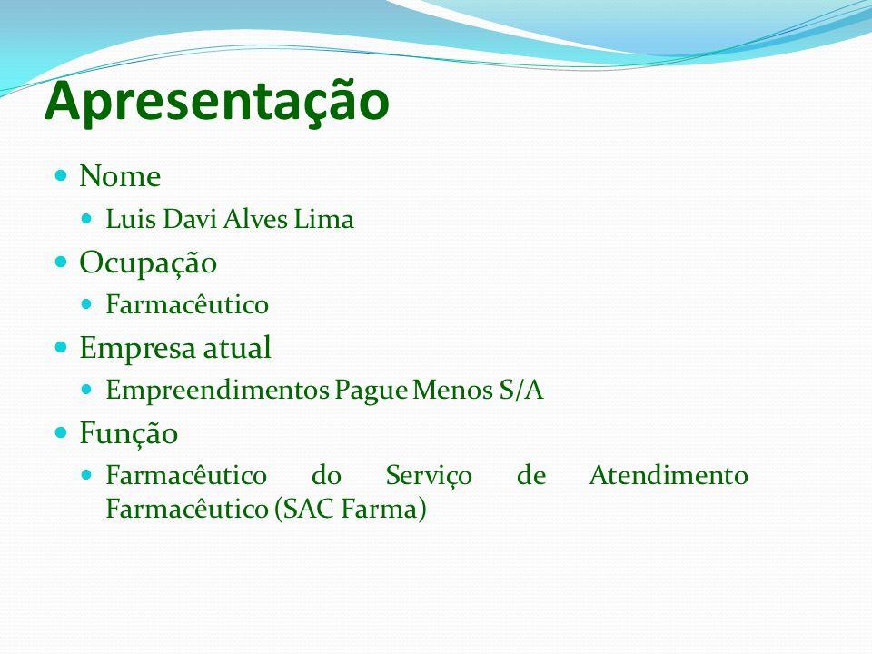 Apresentação Nome Ocupação Empresa atual Função Luis Davi Alves Lima