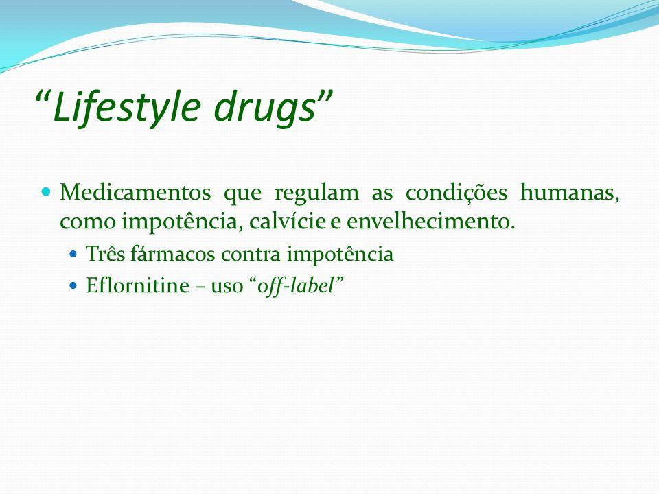Lifestyle drugs Medicamentos que regulam as condições humanas, como impotência, calvície e envelhecimento.