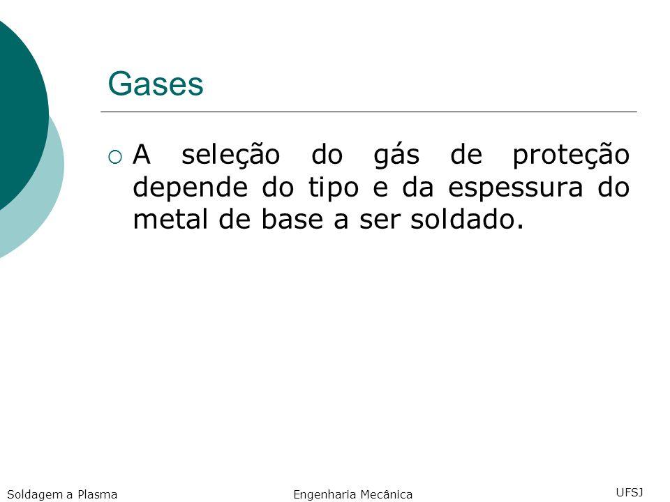 Gases A seleção do gás de proteção depende do tipo e da espessura do metal de base a ser soldado. Soldagem a Plasma.