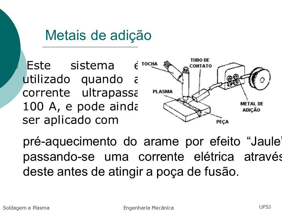 Metais de adição Este sistema é utilizado quando a corrente ultrapassa 100 A, e pode ainda ser aplicado com.