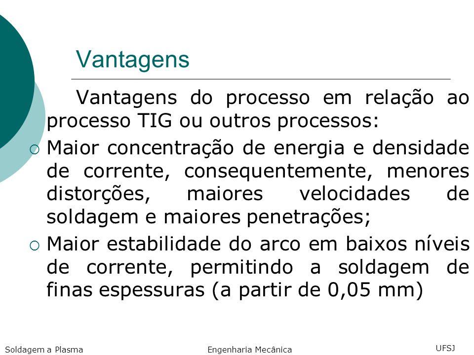 Vantagens Vantagens do processo em relação ao processo TIG ou outros processos: