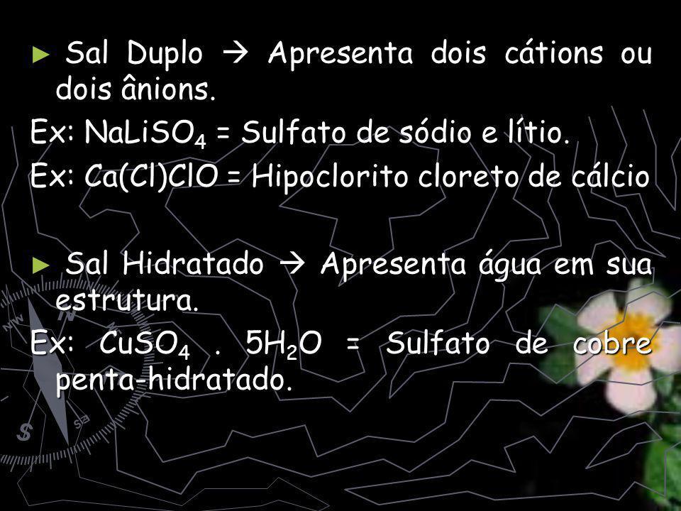 Sal Duplo  Apresenta dois cátions ou dois ânions.