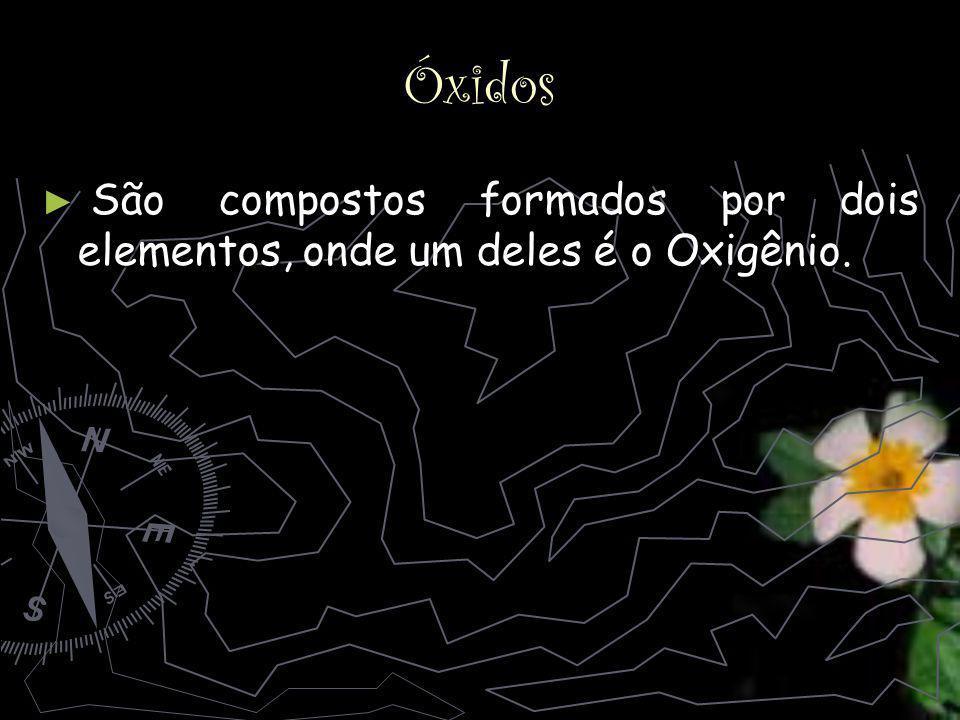 Óxidos São compostos formados por dois elementos, onde um deles é o Oxigênio.