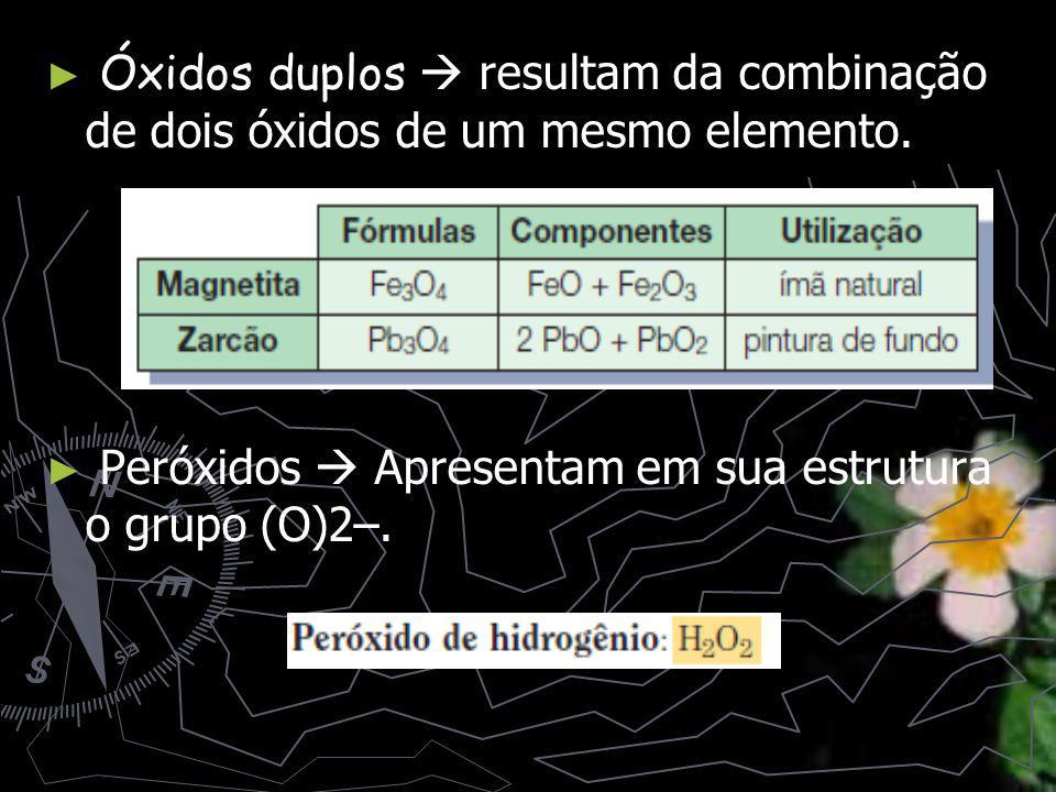 Óxidos duplos  resultam da combinação de dois óxidos de um mesmo elemento.