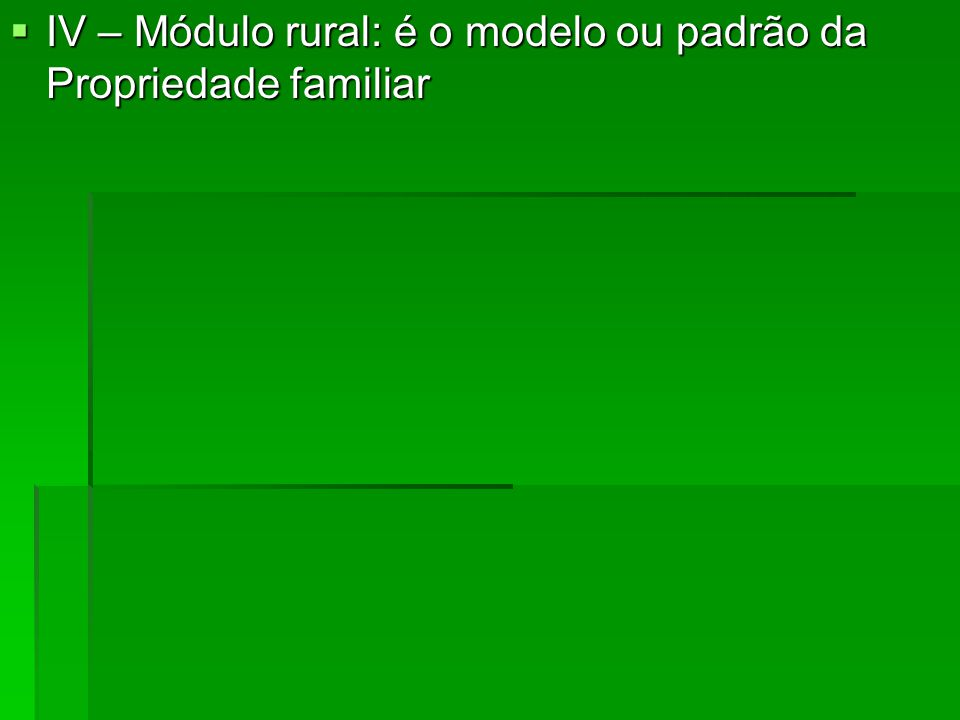 IV – Módulo rural: é o modelo ou padrão da Propriedade familiar