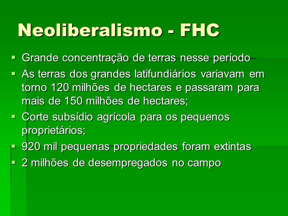 Neoliberalismo - FHC Grande concentração de terras nesse período