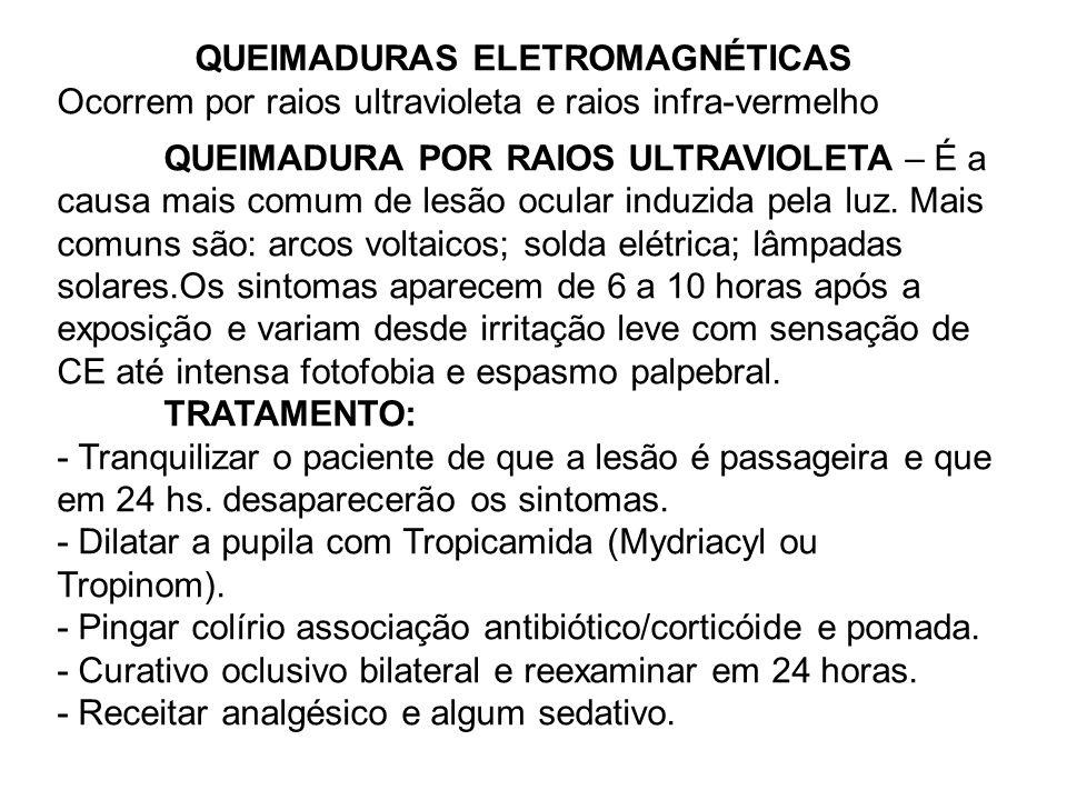 QUEIMADURAS ELETROMAGNÉTICAS Ocorrem por raios ultravioleta e raios infra-vermelho QUEIMADURA POR RAIOS ULTRAVIOLETA – É a causa mais comum de lesão ocular induzida pela luz.