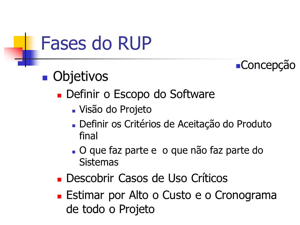 Fases do RUP Objetivos Concepção Definir o Escopo do Software