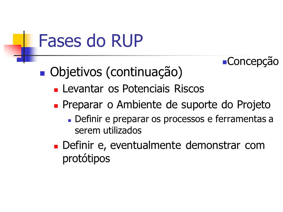 Fases do RUP Objetivos (continuação) Concepção