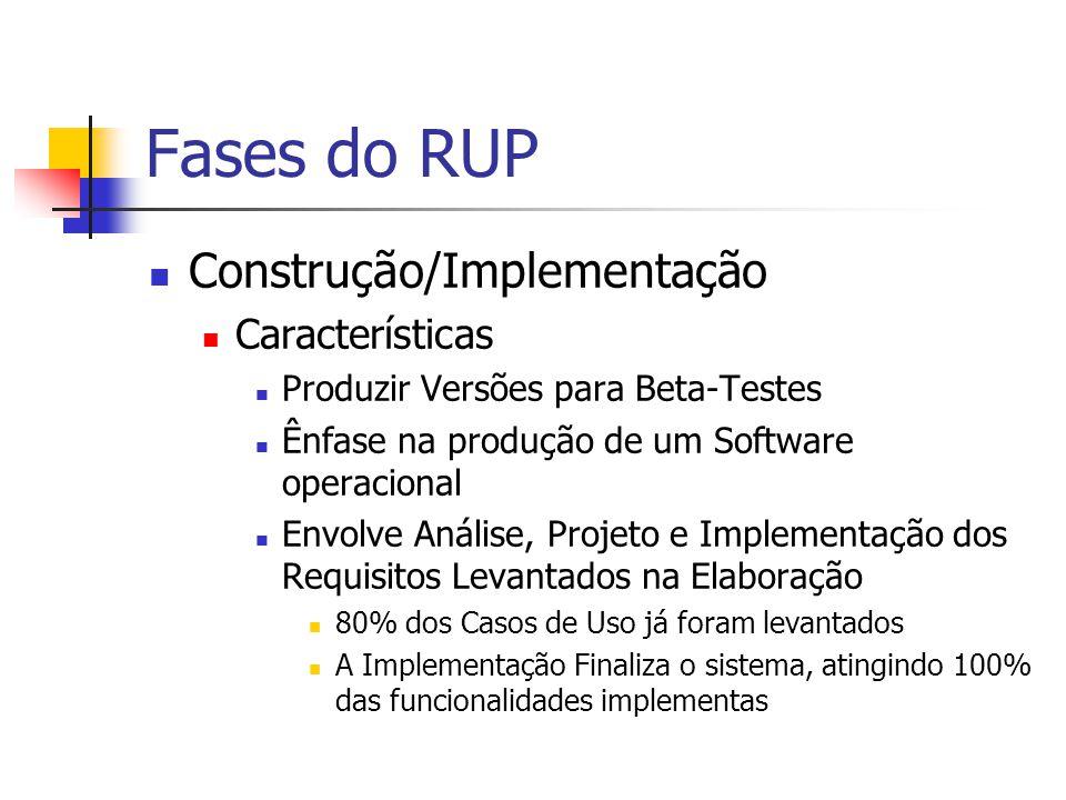 Fases do RUP Construção/Implementação Características