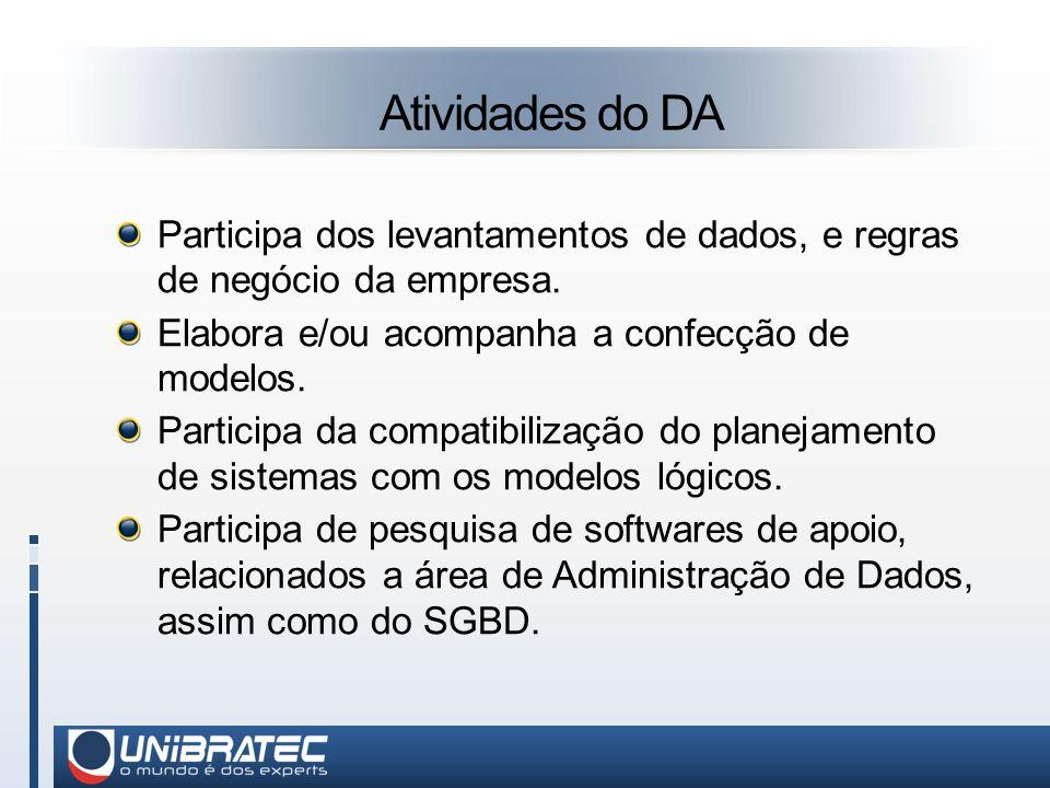 Atividades do DA Participa dos levantamentos de dados, e regras de negócio da empresa. Elabora e/ou acompanha a confecção de modelos.