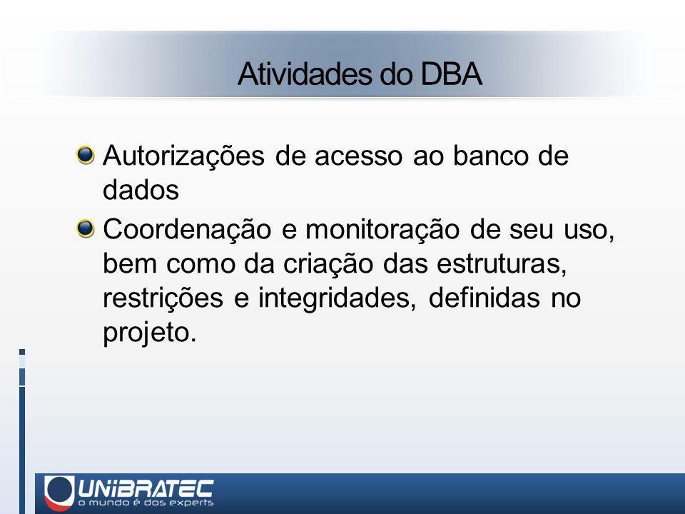 Atividades do DBA Autorizações de acesso ao banco de dados