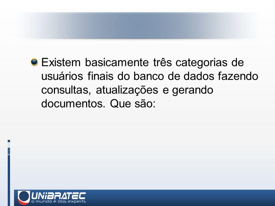 Existem basicamente três categorias de usuários finais do banco de dados fazendo consultas, atualizações e gerando documentos.
