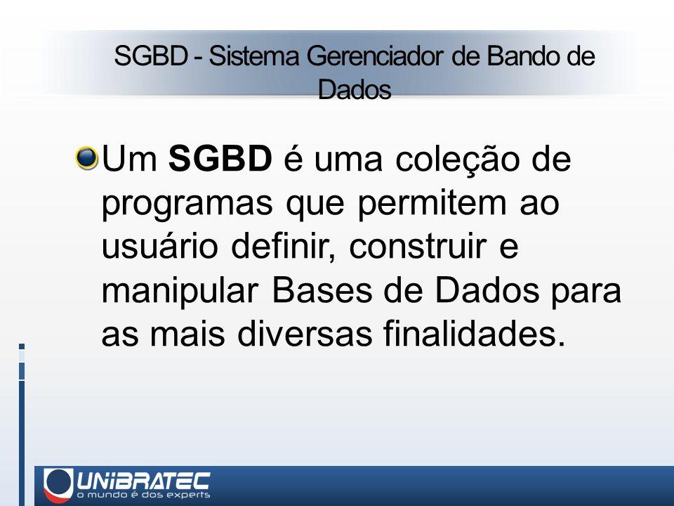SGBD - Sistema Gerenciador de Bando de Dados