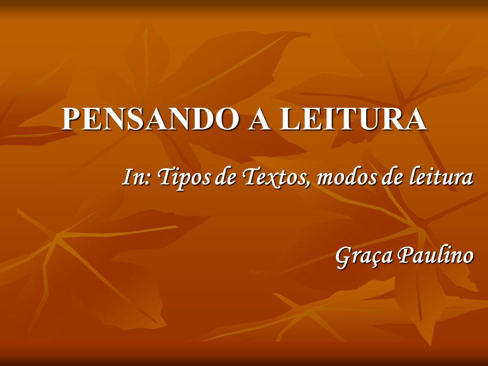 PENSANDO A LEITURA In: Tipos de Textos, modos de leitura Graça Paulino