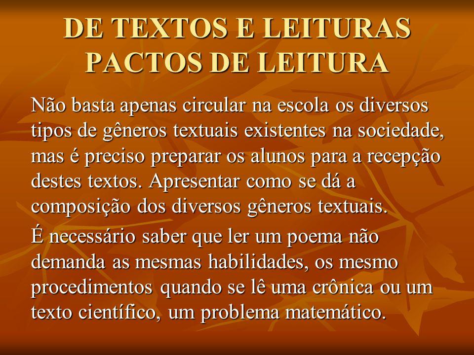 DE TEXTOS E LEITURAS PACTOS DE LEITURA