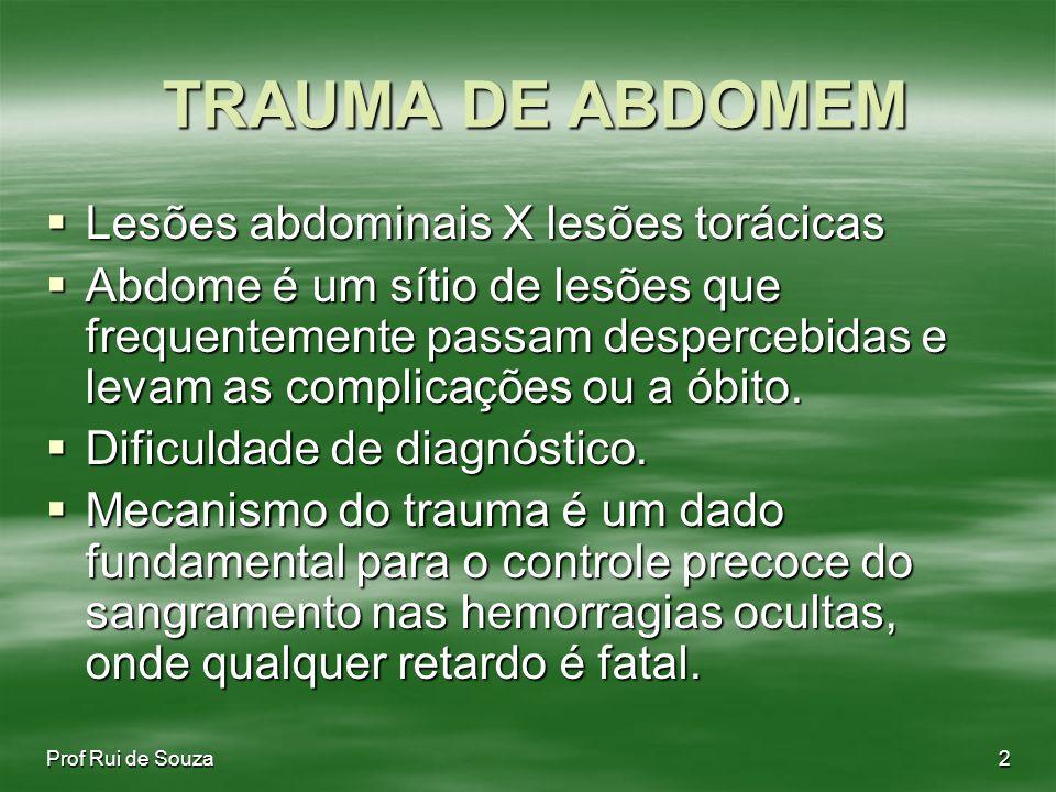 TRAUMA DE ABDOMEM Lesões abdominais X lesões torácicas