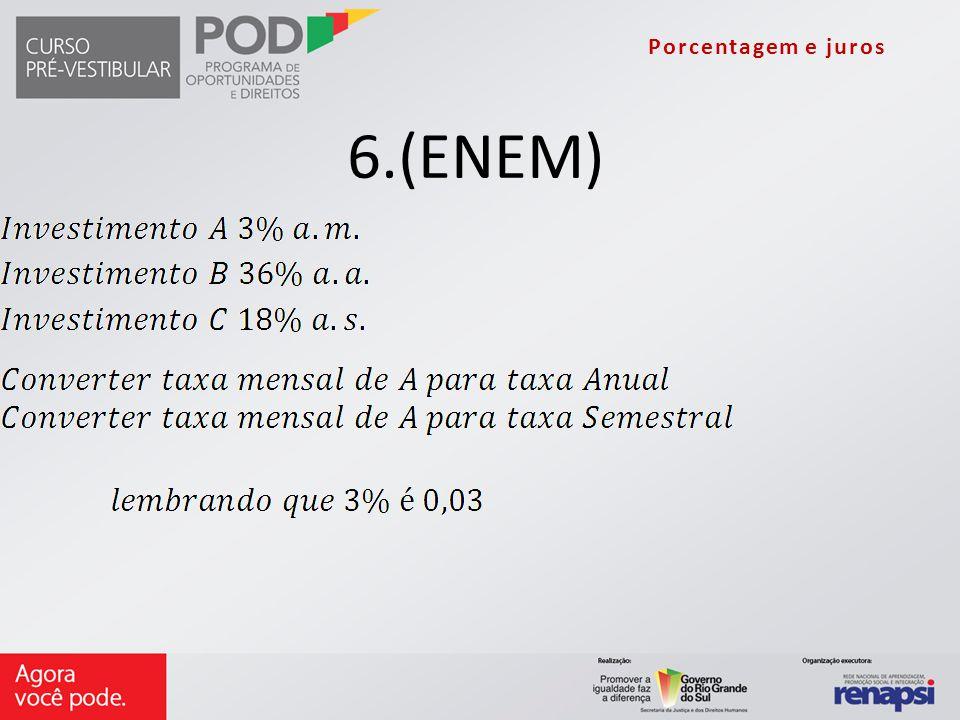 Porcentagem e juros 6.(ENEM)
