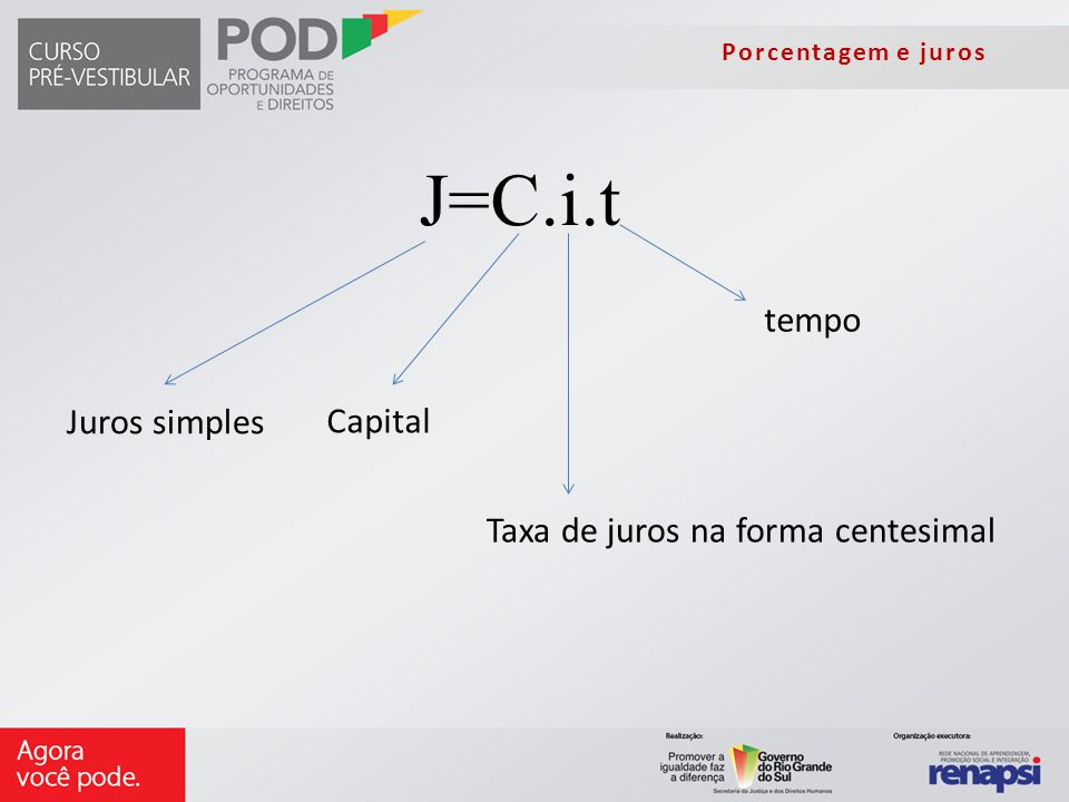 J=C.i.t tempo Juros simples Capital Taxa de juros na forma centesimal
