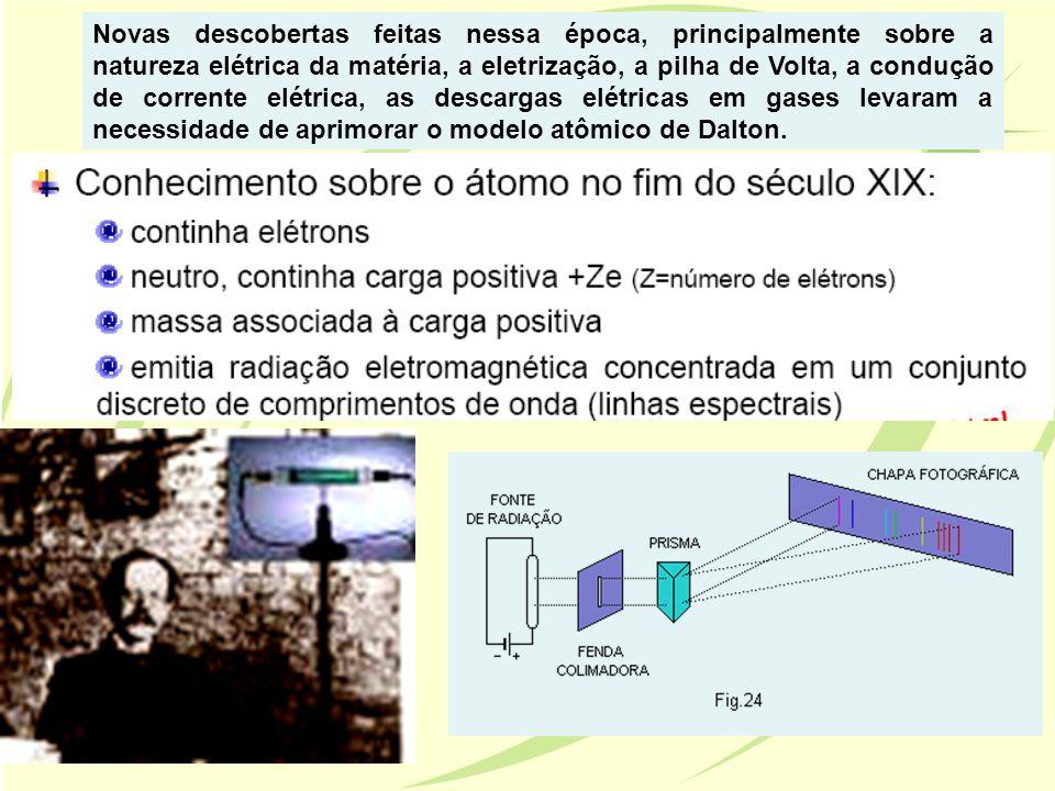 Novas descobertas feitas nessa época, principalmente sobre a natureza elétrica da matéria, a eletrização, a pilha de Volta, a condução de corrente elétrica, as descargas elétricas em gases levaram a necessidade de aprimorar o modelo atômico de Dalton.