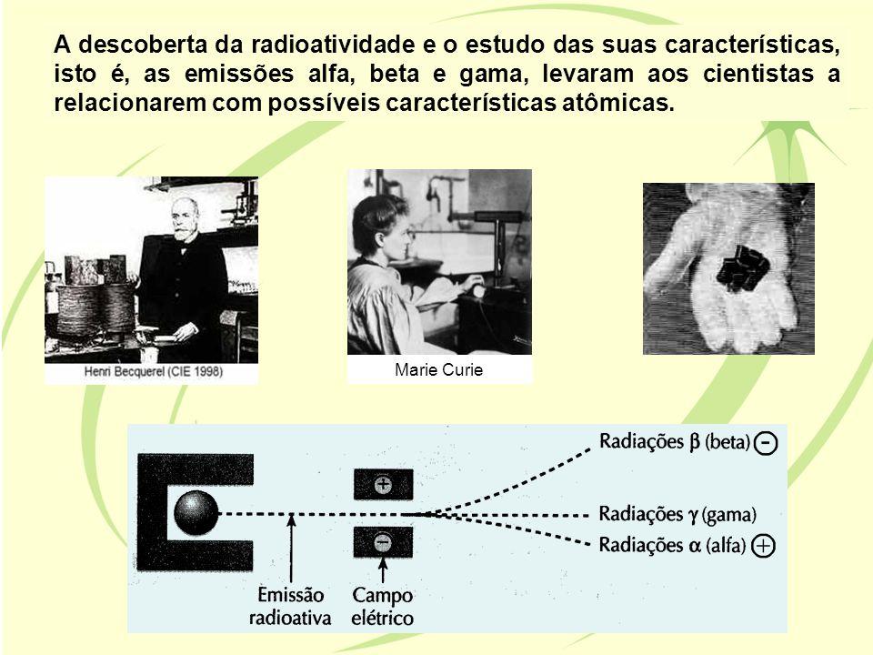 A descoberta da radioatividade e o estudo das suas características, isto é, as emissões alfa, beta e gama, levaram aos cientistas a relacionarem com possíveis características atômicas.