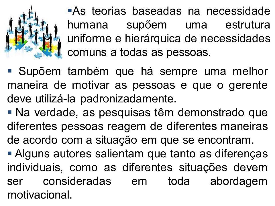As teorias baseadas na necessidade humana supõem uma estrutura uniforme e hierárquica de necessidades comuns a todas as pessoas.